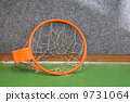 Old basketball hoop with net 9731064