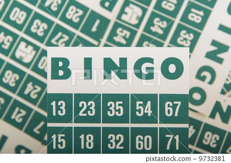 Green bingo cards isolated 9732381
