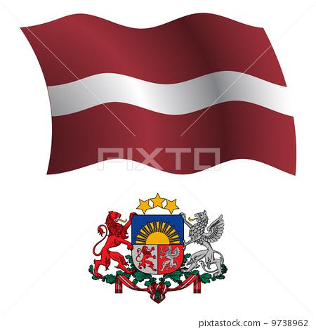 latvia wavy flag and coat 9738962
