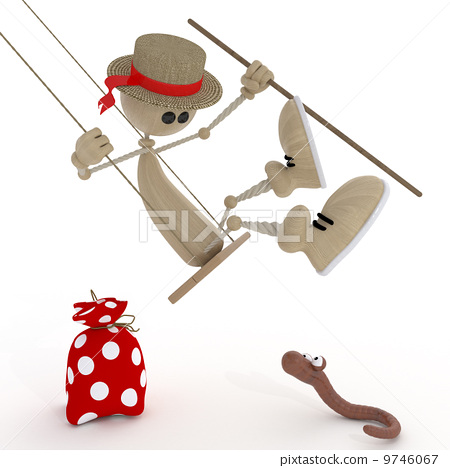 The 3D little man on a swing. 9746067