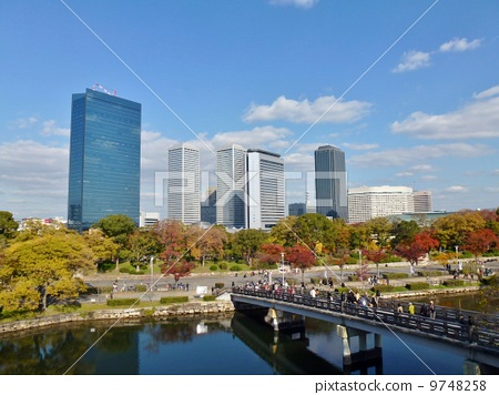 Osaka · The autumnal leaves park and the high-rise building 9748258