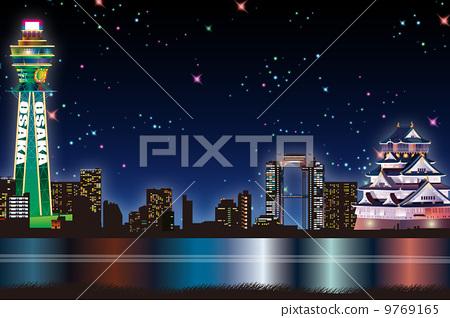 Osaka night view image illustration 9769165
