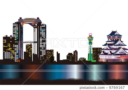 Osaka night view image illustration 9769167