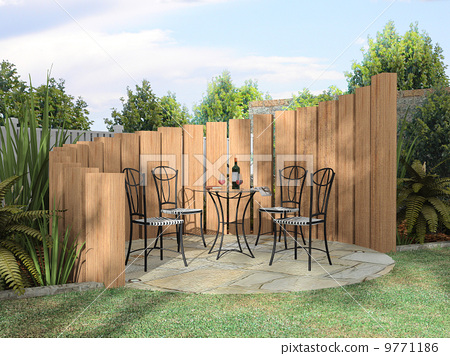 Arbor with furnitures in sunny day 3D rendering 9771186