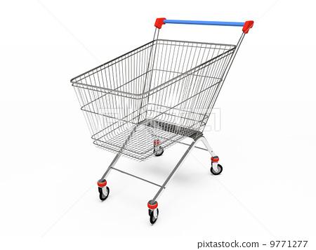 Empty pushcart 3D rendering 9771277