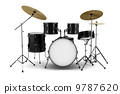 black drum kit isolated on white background 9787620
