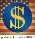 US dollar on a US flag background 9788080