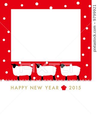 圖庫插圖: 新年賀卡材料 羊年 ... : 年賀状 2015 写真フレーム : 年賀状