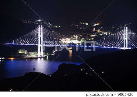 inasayama night view, megami bridge, sea 9805426
