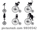 vintage bicycle with animal silhouettes, vector set 9806542