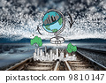 Composite image of global travel doodle over cityscape 9810147