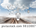 Composite image of business and applications doodles with coffee 9810887