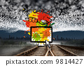 Composite image of business video chat on paint splashes 9814427