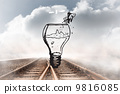 Composite image of fish jumping out of light bulb bowl 9816085