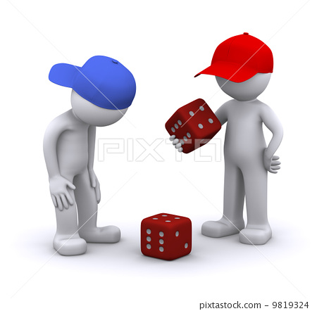 3d characters playing dice 9819324