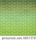 Green brick wall as background or texture 9857378