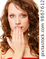 surprised woman face, girl covering her mouth over white 9867612