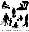 Black silhouettes set people and children with a sled white back 9871279