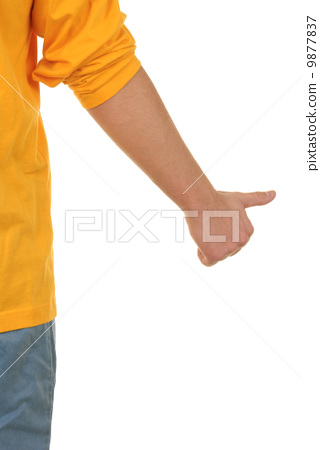 Hand with lifted thumb 9877837
