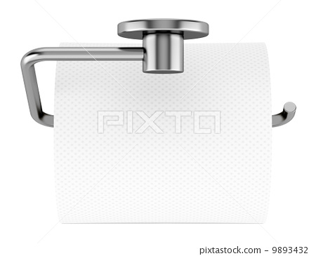 top view of toilet paper on holder isolated on white background 9893432