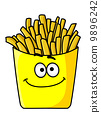 Delicious golden crispy French fries in a packet 9896242