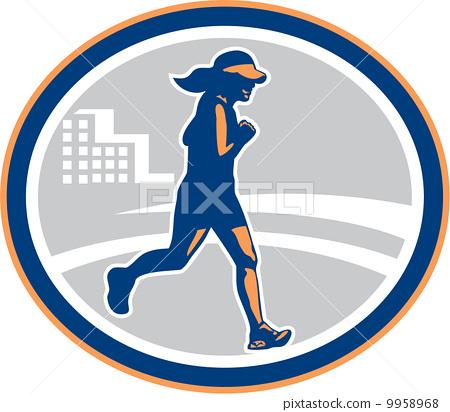 Female Marathon Runner City Retro 9958968