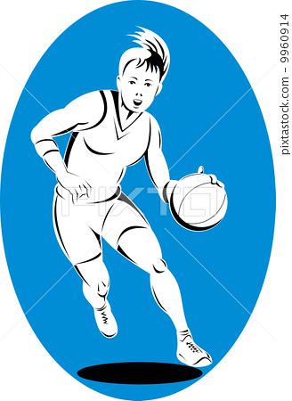 basketball player dribbling ball 9960914