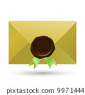 Envelope with seal and green ribbons 9971444