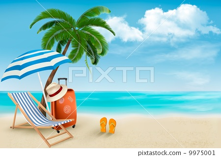 Stock Illustration: Beach with palm trees and beach chair. Summer vacation concept b