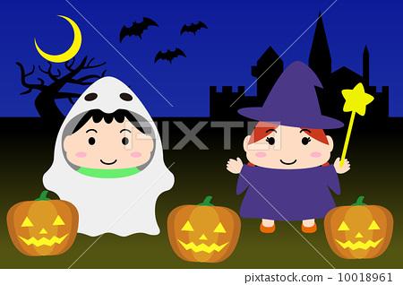 Illustration material for calendar October Children landscape 10018961