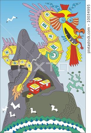 dragon sits on a hill  10034995
