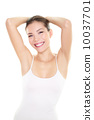 Armpit epilation hair removal woman showing armpits 10037701
