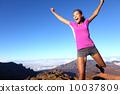 Success winner fitness runner woman jumping 10037809