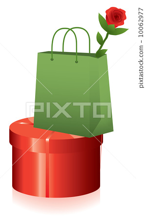 vector gift box and shopping bag with red rose 10062977