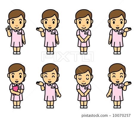 Nurse wearing a pink dress Front front 8 pause 10070257