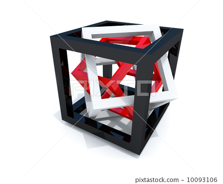 Abstract geometry. Black, white and red wire-frame cubes within 10093106