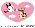 Stork baby Heart illustration 10109459