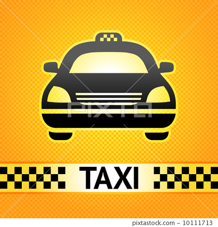 Taxi cab symbol on background pixel pattern 10111713