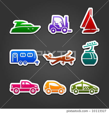 Set labels color transport icons 10113327