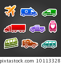 Set of stickers, transport color icons 10113328