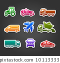 Set of sticky stickers, transport color icons 10113333