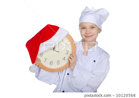 Smiling Christmas young chef  with dial 10120568