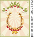 Horseshoe on christmas background with holly berry 10126292