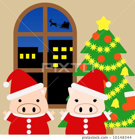 Illustration material for calendar December pig square 10148344