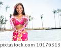 Hawaii woman showing flower lei garland 10176313