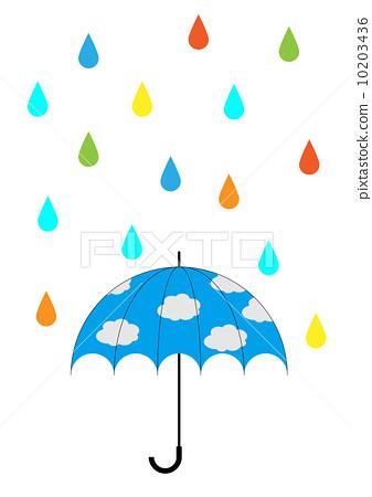 五顏六色的雨和藍天傘 10203436