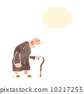 retro cartoon old man with walking stick 10217255