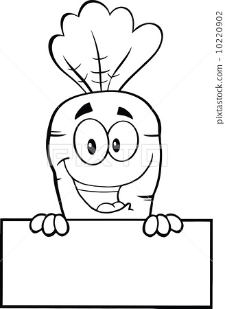 Black And White Happy Carrot Cartoon Character Over Blank Sign 10220902