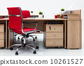 desks and red armchairs 10261527