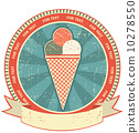Ice cream label set on old paper texture.Vintage background 10278550